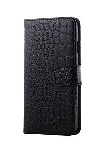 LaoZan iPhone Brieftasche, PU-Leder Krokodilkorn Klappbares Flip Tasche Mit Verschluss - Handyhülle Schwarz