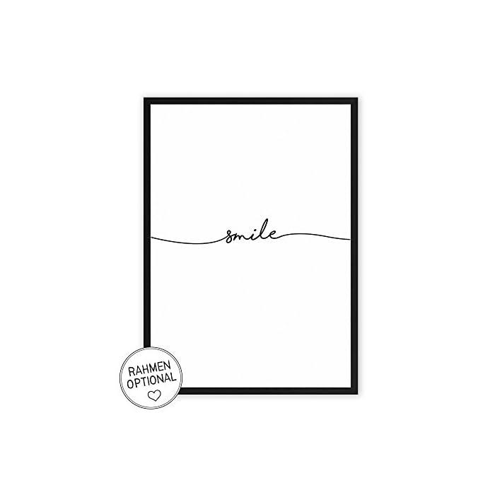 Wunderpixel® Kunstdruck smile - auf wunderbarem Hahnemühle Papier DIN A4 -ohne Rahmen- schwarz-weißer FineArt-Print…