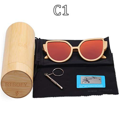 DAIYSNAFDN Holz Sonnenbrille Frauen Bambus Rahmen Brillen Polarisierte Gläser Gläser Mit Holzkiste C1