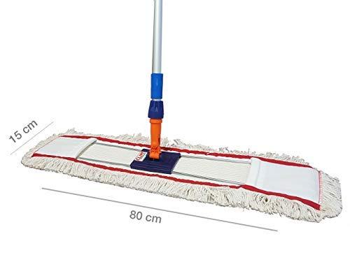Clim Profesional - Mopa plana industrial de algodón de 80 cms con bastidor abatible y mango extensible 150 cms para limpieza en seco y en húmedo