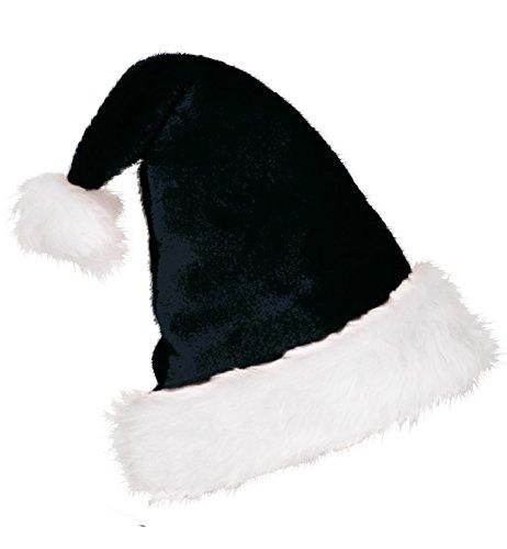 Preisvergleich Produktbild Nikolausmütze edel schwarz Plüsch mit Bommel Nikolaus Mütze Weihnachtsmütze Einheitsgröße