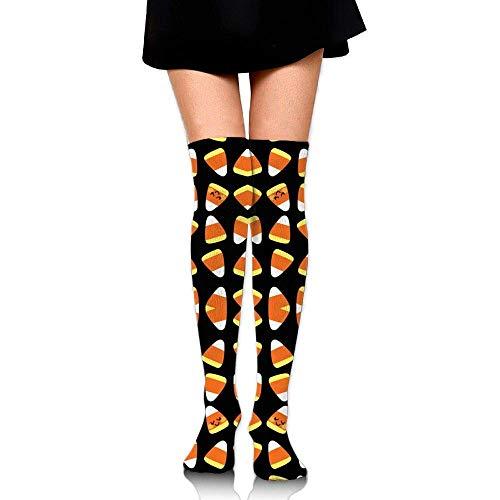 yiyuanyuantu Aloha Candy Corn Kawaii Training Socks Crew Athletic Socks Long Sport Soccer Socks Soft Knee High Sock Compression Socks for Men Women 50CM