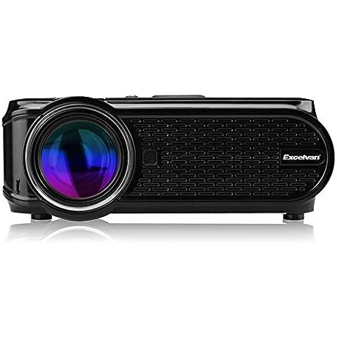 Excelvan EHD02 - Mini Proyector portátil LED Home Cinema (1000 lúmenes, resolución 800*480, HDMI/USB/VGA/AV/ATV/SD), con altavoces incorporados,