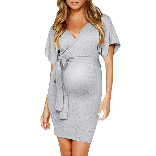 Grau Umstandskleid (Junjie Frauen sexy V-Ausschnitt schwanger aushöhlen Kurzarm solide Umstandskleid große größen blusen für Frauen kurz t Chiffon Tops Shirts schwarz, rosa, grau)