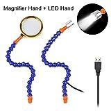 Zwei Flexiable Helfende Hände, Lötstation Zubehör mit 1W LED-Licht und 8X Lupe für traditionelle Sechs und zwei Arme Lötstation