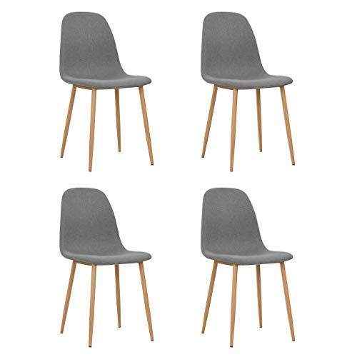 Festnight- Esszimmerstühle 2 STK./ 4 STK.   Polsterstuhl 2er/4er Set   Modern Esszimmer Stuhl   Stoff Küchenstuhl Essstühle   Hellgrau/Dunkelgrau Stoff 45 x 55 x 85 cm