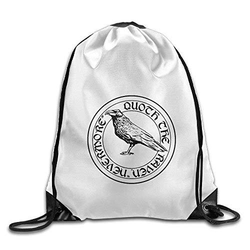 FTKLSS Lightweight Foldable Large Capacity Gym Edgar Allan Poe The Raven Nevermore Drawstring Backpack Bag
