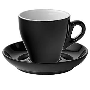 Utopia &tasses à Cappuccino et soucoupes Noir 5,5 oz/160 ml-Lot de 6 tasses en porcelaine avec soucoupes &