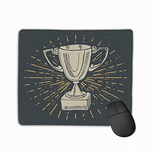 Mouse Pad Vintage Label Hand Drawn Sport Trophy Winners Prize Grunge Textured Retro Badge Typography Print illust Rectangle Rubber Mousepad 11.81 X 9.84 Inch