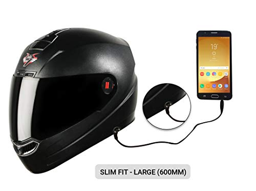Steelbird SBA-1 7Wings HF Dashing Full Face Helmet with Smoke Visor and Detachable Handsfree Device (Large 600 MM Slim Fit, Black)