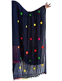 Gujarati Dupatta With Multicolored Pom Pom , Women's Lightweight Dupatta , Fashion Wear