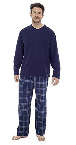Herren 2STÜCK Luxus voller Länge Pyjama Set Warm Winter Thermo-/Jersey-Top Luxus Flanell Lounge Hose Gents Jungen Pyjama Pj 's Geschenk Größe S-XXL Gr. Medium, navy