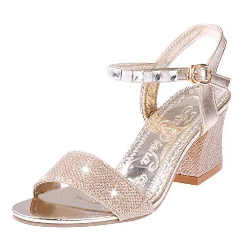 Eleganti Sandali con Tacco Alto da Donna, Scarpe Eleganti, JiaMeng Donna Fibia Strass Scarpe Casual Sandali Piatti con Tacco Alto Oro
