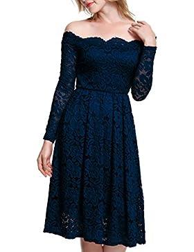 Meyison Damen Vintage 1950er Off Schulter Spitzenkleid Knielang Festlich Cocktailkleid Abendkleid Rockabilly Kleid...