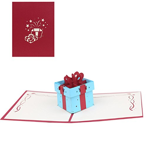 Dabixx Geschenk Box 3D Pop up Karte Grußkarte Handmade Geburtstag Hochzeitseinladung Rot (8d-box)