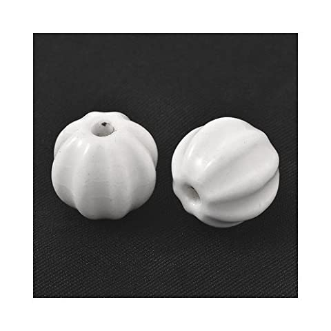 Packet of 10 x White Porcelain 12 x 13mm Glazed Carved Round Beads - (HA27480) - Charming Beads