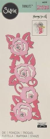 Sizzix 660749 Thinlits Die Matrice Rose par Sharyn Sowell Acier Carbone Multicolore 23,5 x 8 x 0,5 cm - Singles Sizzix Sizzlits