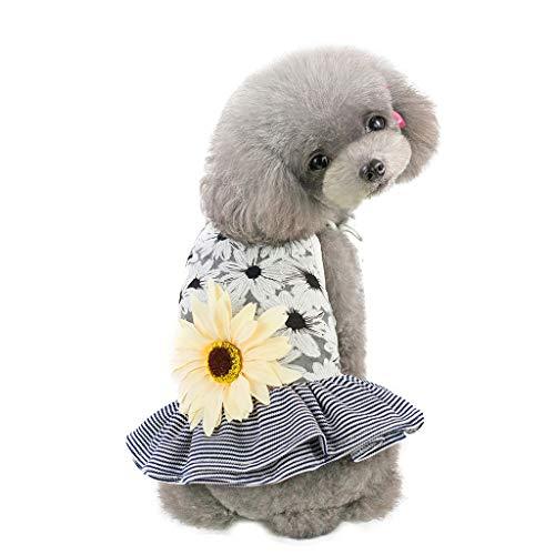 Hawkimin mops Bekleidung Haustier Hund Bottoming Sun Blumendruck Rüschen Kleid Kleidung Katze Lace Breathable ()