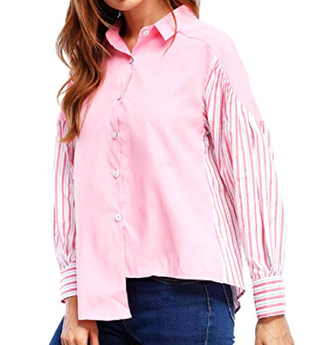 Nadelstreifen Button-down-shirt (VITryst Damen Slim Casual Nadelstreifen Button-Down Top Top Shirt Gr. US Small, Rose)