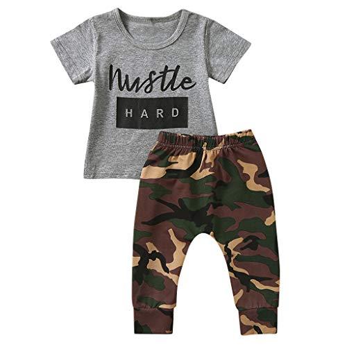 LSAltd Art- und Weisekindkleinkind-Säuglingsbaby-Nette Brief-Druck-Kurzschluss-Hülsen-Oberseiten-T-Shirt + Tarnungs-Hosen-weiches (Mollige Katze Kostüm)