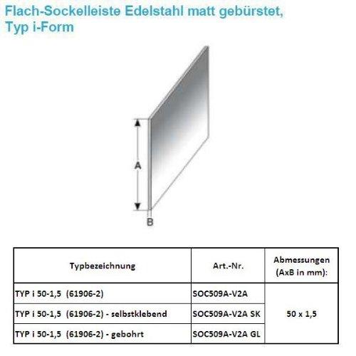 25 METROS RODAPIE / ZOCALO TYP I 50-1 5 (ACERO INOXIDABLE MATE CEPILLADO / 61906-2 GL) - PERFORADO