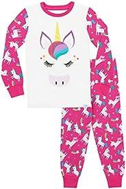 Harry Bear Pigiama per Ragazze Glitter Arcobaleno Unicorno Vestibilitta Stretta