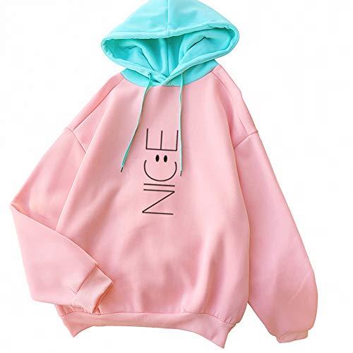 ZJSWCP Sweat-Shirt Automne Hiver Kawaii Fleeces Hoodies Lovely Smil Visage Lettre Mignon Sweat-Shirts À Capuche Survêtement Décontracté Pull Tops,L