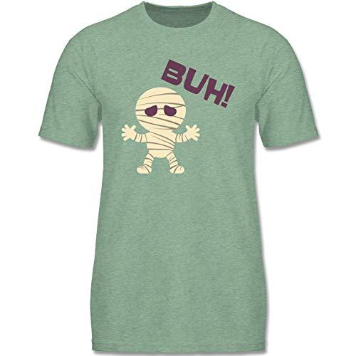 Anlässe Kinder - Mumie Buh süß - 110-116 (5-6 Jahre) - Türkis meliert - F140K - Jungen T-Shirt