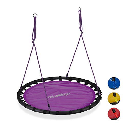 Relaxdays Nestschaukel, runde Hängeschaukel, für Kinder & Erwachsene, verstellbar, draußen, Ø: 120 cm, bis 100 kg, lila