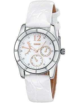 INWET Damen Armbanduhr,Weiß Leder Armband,Perlmutt Zifferblatt,Kristall