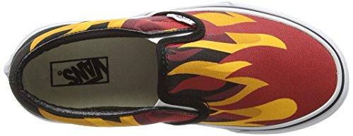Vans Unisex-Kinder Classic Slip-On Low-Top Mehrfarbig (flame/black/racing Red)