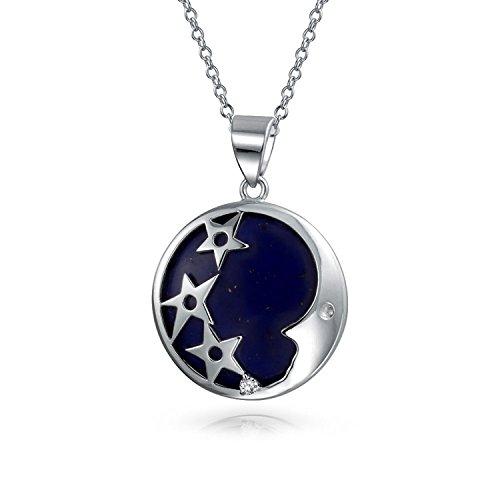 Bling Jewelry teñido de azul piedra Lapis CZ Estrellas Luna Colgante Collar de plata esterlina de 18 pulgadas