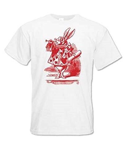 Bedruckt T-Shirt Alice im Wunderland - Kostüm Hase - Weiß, Small
