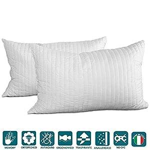 almohadas: Evergreenweb - Pack de 2 almohadas 40X70 viscoelásticas de copos altos 15 cm. Pe...