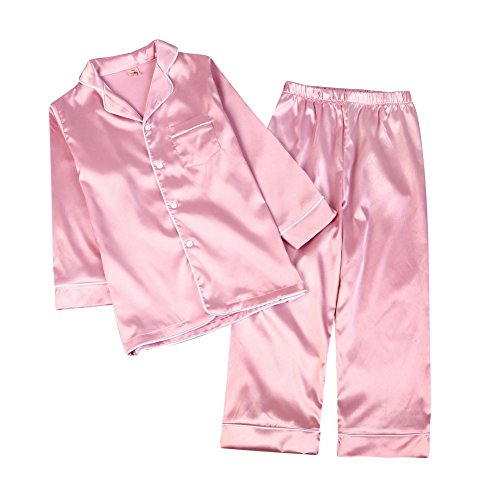 Kinder Schlafanzug Junge Mädchen, Baywell Langram Seide Zweiteilige Schlafanzüge Pyjamas Set (Rosa, 110/4-5T) Jungen Pyjama-set 5t