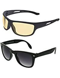 Vast Combo Of All Day & Night Vision Sport Unisex Sunglasses (Black)