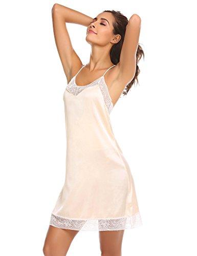 Meaneor_Fashion_Origin Damen Satin Kleid Nachthemd Spitze Nachtwäsche Sexy Negligee V Ausschnitt Spaghetti Träger Sleepwear- Gr. XL(EU46-48), Champagner