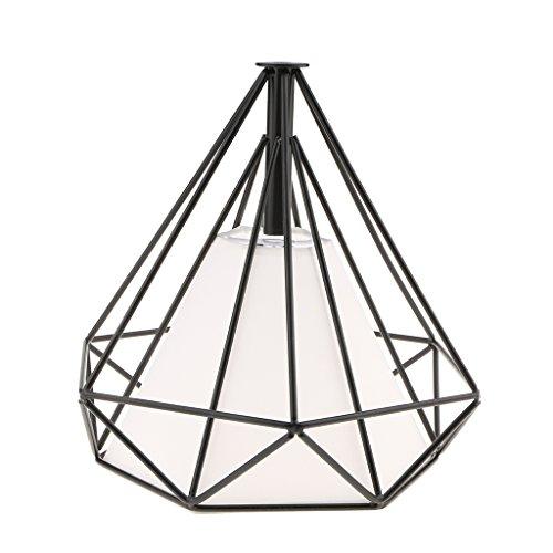 perfk Cubierta de Luz Jaula de Bombilla Techo De Diamante Geométrico Lámparas de Sombra Techo Colgante - Dentro Blanco Jaula Negro
