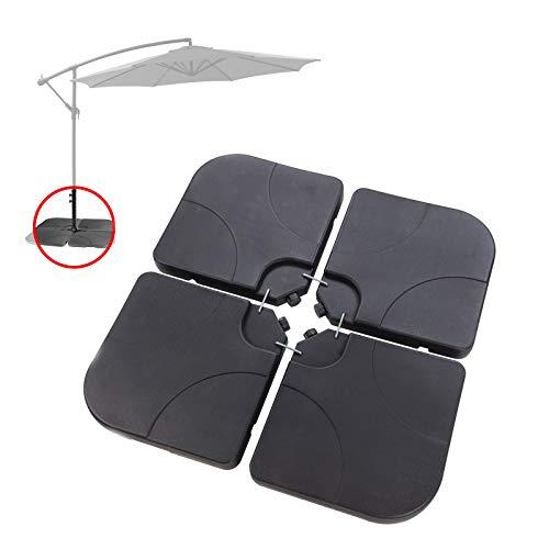 DeTec Stabilo Sonnenschirmständer Ampelschirmständer Marktschirmständer Kurbelschirmständer   4 Elemente je 50x50x6,5 cm   Sand oder Wasser Befüllung   bis 100 kg