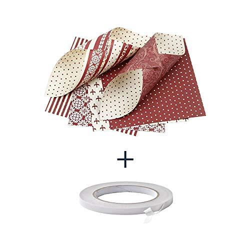 Origami Papier Set 15x15 cm - Sortiment. Mit Doppelseitiges Klebeband. 50 Blatt mit 4 Designs, Origami Papier Weihnachten