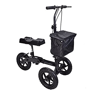 All terrain Outdoor Knee walker with adjustable height fold down handle and brakes