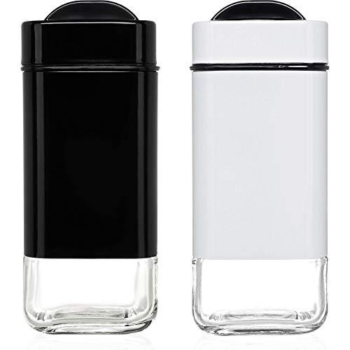 CHEFVANTAGE Salz- und Pfefferstreuer Set mit verstellbaren Ausgießlöchern schwarz/weiß (Cayenne-pfeffer Salz)