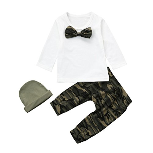 Baby Kleidung Set,BeautyTop 3pcs Neue Kleinkind Baby Mädchen Jungen Camouflage Bogen Bluse T-shirt Tops + Camouflage Hosen + Hut Outfits Kleidung Set (70/0-6 Monate, Weiß) (Neues Monate Outfit)
