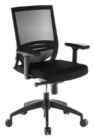 hjh Office Porto Base Siège de bureau type fauteuil de direction - Assise en tissu/Dossier en maille - Noir
