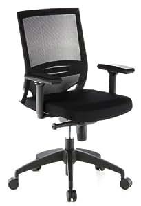 hjh OFFICE 657230 Bürostuhl Drehstuhl PORTO BASE Netzstoff schwarz, gute Polsterung, robuster Netzrücken, höhenverstellbare Armlehnen, Schreibtischstuhl ergonomisch, Büro Sessel, Chefsessel