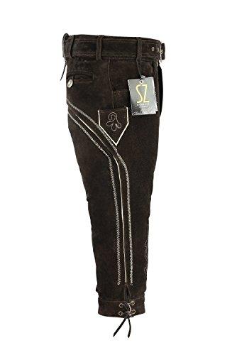 SHAMZEE Trachten lederhose Knielang inklusive Gürtel aus Echtleder in Braun farbe für Damen und Herren Braun