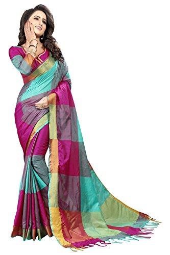 Perfectblue Women\'s Cotton Silk Saree With Blouse Piece (Zikkattvariation) (Majentaskyblue)