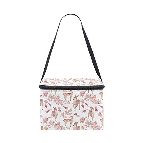 Alaza - borsa termica per il pranzo, con motivo floreale e cervo, riutilizzabile, per viaggi, picnic, con tracolla, per donne, uomini, adulti e bambini 8.5x5.5x6 inches bianco