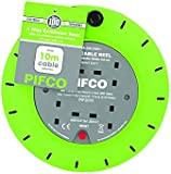 Invero® 4 Way Mains Socket with 10M Metre Extension Lead Reel Cable - Heavy Duty British Approved 13A ideal for Workshops Home Use DIY and more