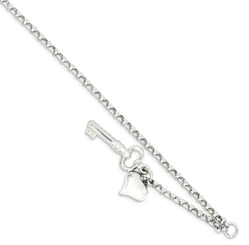 IceCarats 14k White Gold Adjustable Chain Plus Size Extender Heart Key Anklet For Women Ankle Beach Chain Bracelet